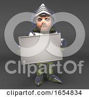Chivalrous Knight In Armour Holding A Blank Banner 3d Illustration