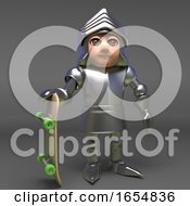 Chivalour Knight In Plate Metal Armour Holding A Skateboard 3d Illustration