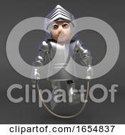 Chivalrous Knight In Plate Metal Armour Plays With Skipping Rope 3d Illustration