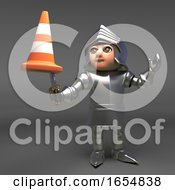 Chivalrous Knight In Armour Bravely Combats A Traffic Cone 3d Illustration