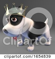 Poster, Art Print Of Noble Black And White Puppy Dog Wearing A Royal Gold Crown 3d Illustration