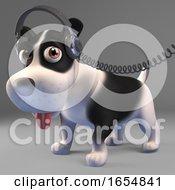 Poster, Art Print Of Music Loving Black And White Puppy Dog Listens To Music On Headphones 3d Illustration