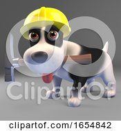 Poster, Art Print Of Hard Working Black And White Puppy Dog Wears Safety Helmet For Construction Work 3d Illustration
