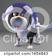 Poster, Art Print Of Cartoon Dog In Spacesuit Ready To Explore Space 3d Illustration