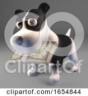 Poster, Art Print Of Happy Black And White Puppy Dog Has A Mouth Full Of Dollar Bills 3d Illustration