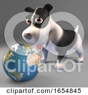 Poster, Art Print Of Cute Black And White Dog Looks At A Globe Of The Earth 3d Illustration