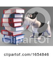Poster, Art Print Of Interested Black And White Puppy Dog Looks At A Stack Of Files And Folders 3d Illustration