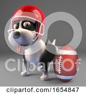 Poster, Art Print Of Cool Black And White Puppy Dog Wearing An American Football Helmet 3d Illustration