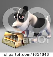 Poster, Art Print Of Rich Black And White Puppy Dog With A Stack Of Gold Bullion Ingots 3d Illustration
