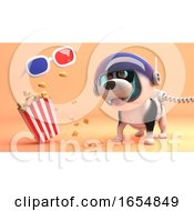 Cute Puppy Dog In Spacesuit On Alien Planet Looks At 3d Glasses And Popcorn 3d Illustration