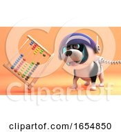 Poster, Art Print Of Funny Puppy Dog In Space Explores Mars And Finds An Abacus 3d Illustration
