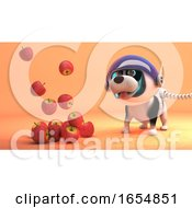 Poster, Art Print Of Funny Puppy Dog On Mars In Spacesuit Watches Apples Fly In Zero Gravity 3d Illustration