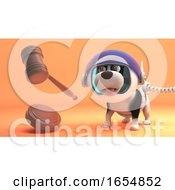 Poster, Art Print Of Puppy Dog In Spacesuit Holds Zero Gravity Auction 3d Illustration