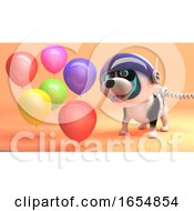 Poster, Art Print Of Cute Dog Wearing Spacesuit On Mars Watches Party Balloons Floating 3d Illustration