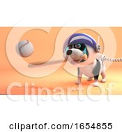 Puppy Dog In Spacesuit Play Baseball On Mars 3d Illustration