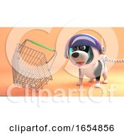 Poster, Art Print Of Space Dog In Spacesuit Explores Mars And Finds A Shopping Basket 3d Illustration