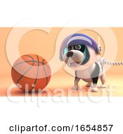 Poster, Art Print Of Cool Dog In Spacesuit Explores Mars And Discovers Basketball 3d Illustration