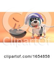 Poster, Art Print Of Cute Dog In Spacesuit On Mars Cooks Sausages On Barbecue Bbq 3d Illustration