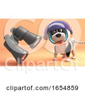 Poster, Art Print Of Funny Dog In Spacesuit On Surface Of Mars Finds Floating Binoculars 3d Illustration