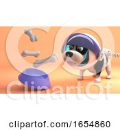 Poster, Art Print Of Space Explorer Dog Wears Spacesuit On Mars And Eats From Zero Gravity Food Bowl 3d Illustration