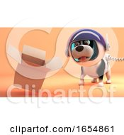 Poster, Art Print Of Space Explorer Dog On Mars Notices Floating Empty Cardboard Box 3d Illustration