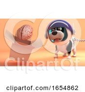 Poster, Art Print Of Brave Space Dog In Spacesuit Explores Mars And Finds A Brain In A Box 3d Illustration