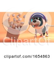 Poster, Art Print Of Eggs Float From A Box On The Surface Of Mars As Space Dog Looks On 3d Illustration