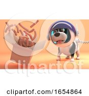 Poster, Art Print Of Hungry Space Dog On Mars Watches Sausages Float From A Box 3d Illustration