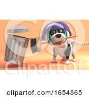 Poster, Art Print Of Fastidious Space Dog Cleans Up The Surface Of Mars With His Space Broom And Trash Can 3d Illustration