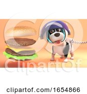 Poster, Art Print Of Intrigued Space Dog Watches The Formation Of Alien Burger On Surface Of Mars 3d Illustration