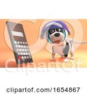 Poster, Art Print Of Intelligent Space Dog On Mars Looks At Digital Calculator With Trepidation 3d Illustration