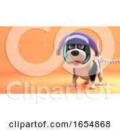 Cute Puppy Dog Wears Spacesuit While Exploring Mars 3d Illustration