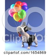 Poster, Art Print Of Cartoon Black And White Puppy Dog In 3d Playing With Colored Balloons