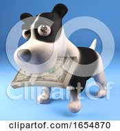Poster, Art Print Of Cute Black And White Puppy Dog With A Wad Of Us Dollars In His Mouth 3d Illustration