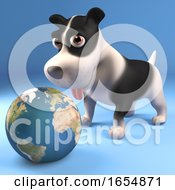 Poster, Art Print Of Black And White Puppy Dog Plays With A Globe Of The Earth 3d Illustration