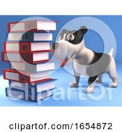 Poster, Art Print Of Cartoon Black And White Puppy Dog Looking At A Stack Of Folders And Files 3d Illustration