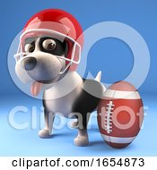 Poster, Art Print Of Cute Puppy Dog Wearing American Football Helmet And Looking At Ball 3d Illustration