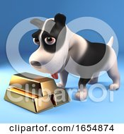 Funny Black And White Puppy Dog Looks At His Stash Of Gold Bullion Bars 3d Illustration