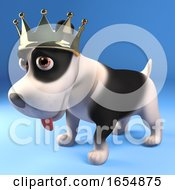 Poster, Art Print Of King Puppy Dog Wearing His Splendid Gold Crown Of Royalty 3d Illustration