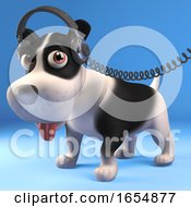 Poster, Art Print Of Cool Black And White Puppy Dog Wearing His Favourite Headphones 3d Illustration