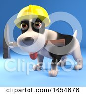 Poster, Art Print Of Cool Puppy Dog Builder Wearing A Safety Helmet And Holding His Hammer 3d Illustration