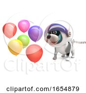 Poster, Art Print Of Cute Puppy Dog In Spacesuit Plays With Party Celebration Balloons 3d Illustration