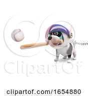 Poster, Art Print Of Cute Cartoon Space Dog In Spacesuit Playing Baseball In Low Gravity 3d Illustration