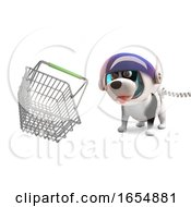 Poster, Art Print Of Fun Cartoon Space Dog In Spacesuit With Floating Shopping Basket 3d Illustration