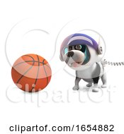 Poster, Art Print Of Funny Puppy Dog In Spacesuit Playing With Basketball 3d Illustration