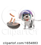 Poster, Art Print Of Hungry Puppy Dog In Spacesuit Cooking Frankfurters On Barbecue Bbq 3d Illustration