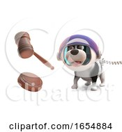Poster, Art Print Of Cartoon Puppy Dog In Spacesuit Looking At An Auction Gavel 3d Illustration