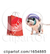 Poster, Art Print Of Puppy Dog In Spacesuit Looking At A Shopping Bag With Sale Written On It 3d Illustration