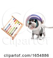 Poster, Art Print Of Cartoon Space Puppy Dog On Mars Watches Floating Abacus 3d Illustration