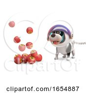 Poster, Art Print Of Cartoon Puppy Dog In Spacesuit Watching Floating Apples 3d Illustration